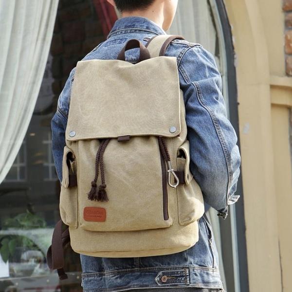 後背包 韓版男士背包休閒雙肩包男時尚潮流帆布男包旅行包電腦包學生書包 免運