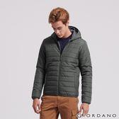 【GIORDANO】男裝輕量修身連帽鋪棉外套-05 深影灰