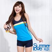 【SUMMERLOVE夏之戀】 中大碼運動風二件式泳衣-S15736