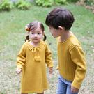 韓版純色舒暖針織長袖上衣親子裝(小孩)