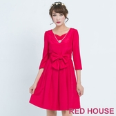 【RED HOUSE 蕾赫斯】素面蝴蝶結洋裝(共2色) 滿1111折211