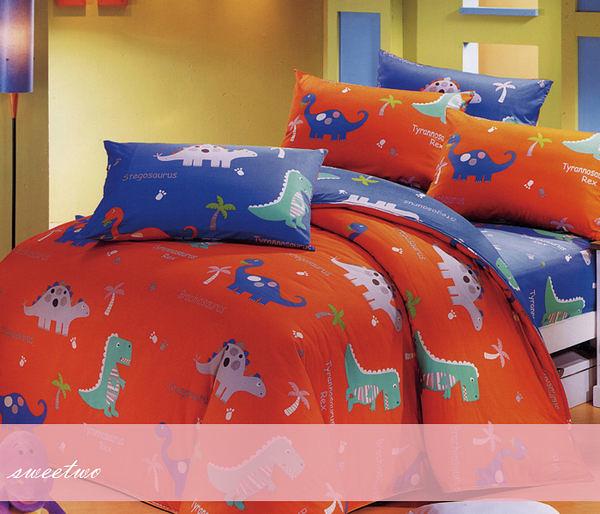 雙人床包組【薄床包+薄枕套*2】(5*6.2尺)/三件式100%美國棉『恐龍物語』