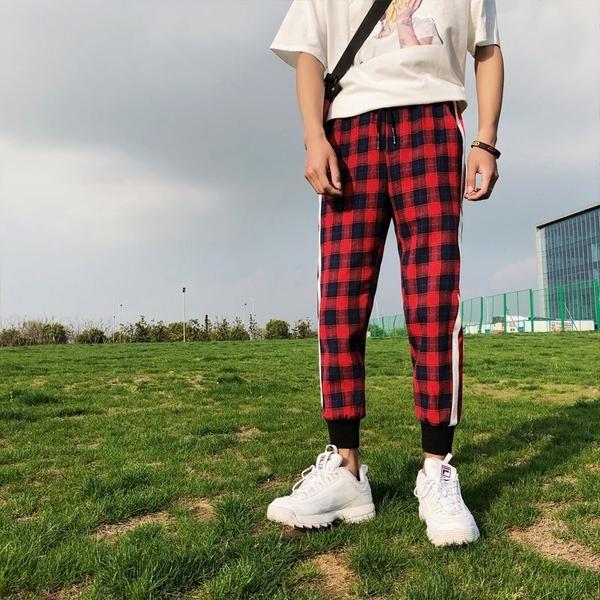 FINDSENSE品牌 秋季 新款 日本 原宿 復古格子 撞色 哈倫褲  舒適