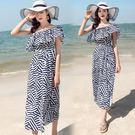 9905#(實拍)一字肩波西米亞海邊度假巴厘島沙灘裙連身裙長裙ZLE区303-D朵維思工廠直營不退換
