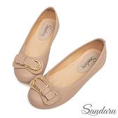 娃娃鞋 造型皮帶釦圓頭軟底豆豆鞋-粉