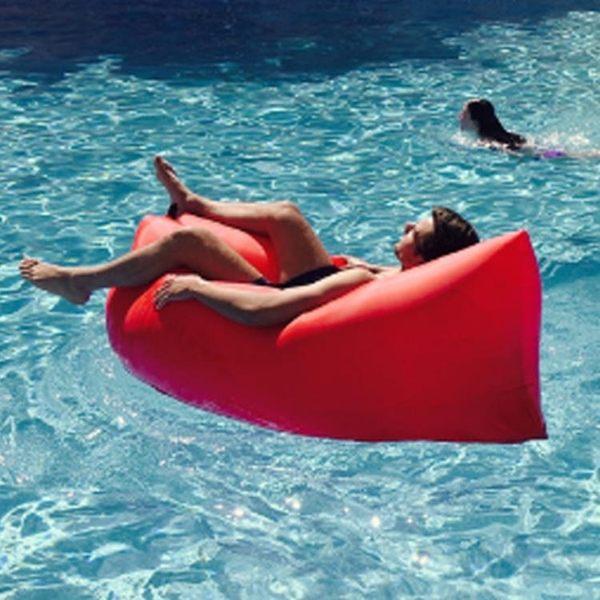 戶外便攜式空氣沙發袋充氣床單人休閒快速充氣床懶人沙灘睡袋   LannaS