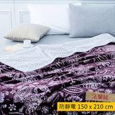 HOLA 貝爾曼防靜電雙層法蘭絨毯 紫色款 單人