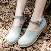 【35-43全尺碼】高跟鞋.韓版氣質繞踝粗跟包鞋.白鳥麗子