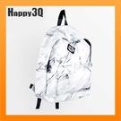 大理石紋雙肩包後背包個性造型文創新印花書包通勤包書包個性包書包-白/黑【AAA3279】預購