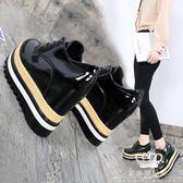 內增高鞋 松糕鞋女厚底百搭韓版坡跟小皮鞋