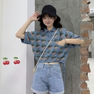 polo衫 短袖t恤女夏季ins潮短款露臍韓版寬鬆bm風收身上衣針織polo衫百搭
