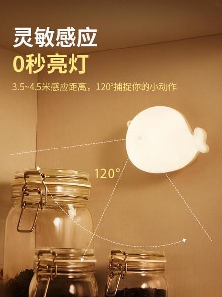 智慧人體感應小夜燈家用廁所衛生間無線夜間2021新款粘貼墻壁燈起 果果輕時尚