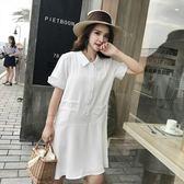 2018夏季新款白色小清新初戀襯衫裙子法式少女寬鬆連身裙女夏學生『小淇嚴選』