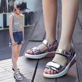 女童涼鞋韓版夏季兒童公主鞋時尚軟底小女孩休閒沙灘涼鞋        伊芙莎