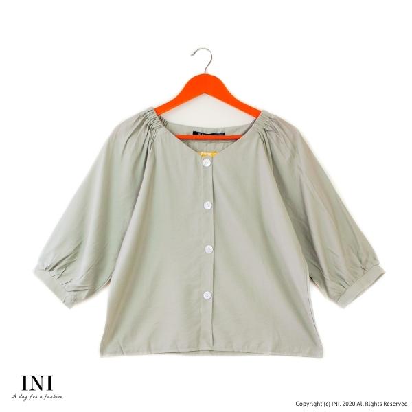 【INI】注目質感、造型氛圍寬袖上衣.蘋果綠色