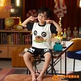 兒童睡衣男童夏季純棉薄款短袖小男孩中大童夏天卡通家居服組合裝【小桃子】