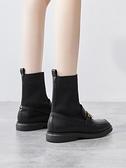 襪靴 英倫風馬丁靴子2021春季新款短靴女春秋單靴平底襪子靴百搭女鞋【快速出貨八折下殺】
