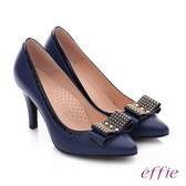 effie 耀眼女伶 真皮拼接金屬鉚釘蝴蝶結高跟鞋  藍