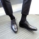 男士絲光棉商務細條紋中長筒紳士黑色皮鞋正裝職場西裝襪子