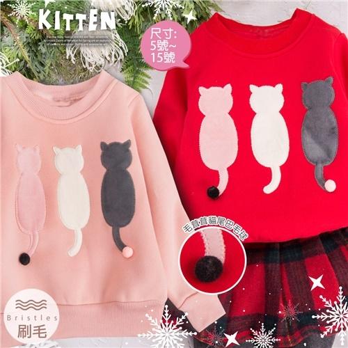 禦寒保暖~背影貓咪圓領長袖上衣-2色(厚棉,內刷毛)(300712)【水娃娃時尚童裝】
