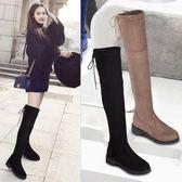 過膝靴女2019新款秋冬高筒靴網紅馬丁靴瘦瘦靴平底女鞋長靴長筒靴   米娜小鋪