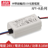 MW明緯 APV-8-24 單組24V輸出LED光源電源供應器(8W)