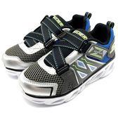 《7+1童鞋》中童 SKECHERS 90512LSLBL  輕量 透氣 電燈鞋 運動鞋 慢跑鞋 b998  灰色