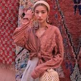 韓國IG熱門款強配色復古亞麻條紋翻領褶皺襯衫女『居享優品』