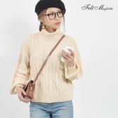 東京著衣-Felt maglietta-柔軟大翻領麻花織紋針織衫-M(Z200014)