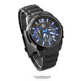 EDIFICE系列 時尚藍黑科技智慧賽車錶 三眼不鏽鋼手錶100米防水 柒彩年代【NE1465】原廠