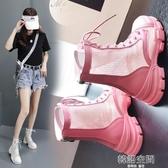 網紗馬丁靴女春夏季透氣薄款黑色短靴夏天百搭涼鞋內增高網眼靴子 韓語空間