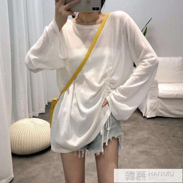 冰絲針織衫女2021夏季新款韓版網紅防曬罩衫寬鬆薄款長袖外搭上衣 夏季新品