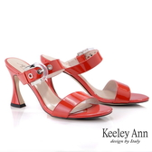 Keeley Ann我的日常生活 一字素面透明釦拖鞋(紅色) -Ann系列