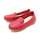 【南紡購物中心】WALKING ZONE(女) 柔軟壓紋樂福鞋莫卡辛女鞋-紅 (另有藍.可可)