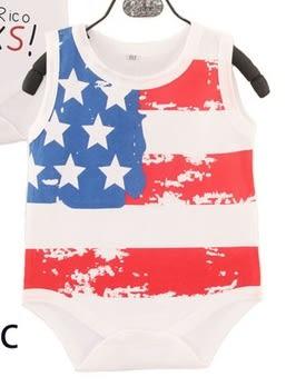 男Baby男童裝棉質包屁衣白色美國國旗印花包屁衣-現貨