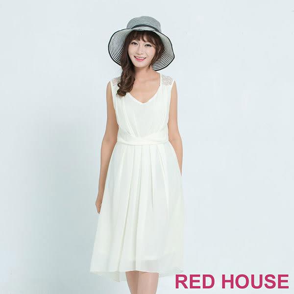 RED HOUSE-蕾赫斯-透膚蕾絲拼接洋裝(米白色)