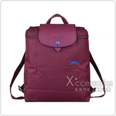 LONGCHAMP COLLECTION刺繡LOGO尼龍摺疊拉鍊後背包(梅紅x藍)