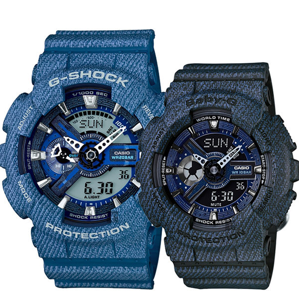 【CASIO 卡西歐】限量丹寧情侶對錶-蔚藍+藍面深 GA-110DC-2ADR+BA-110DC-2A1DR