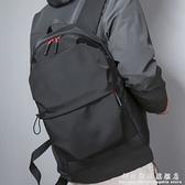 防水尼龍布雙肩包純色百搭滑面潮男式書包大容量日韓商務電腦背包 科炫數位