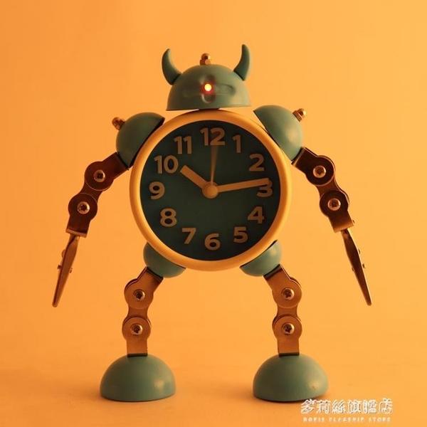 鬧鐘-變形機器人鬧鐘創意學生小鬧鐘可愛兒童卡通鬧鐘臺鐘座鐘金屬鬧錶 多麗絲旗艦店