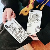 🍏 iPhoneXs/XR 蘋果手機殼 可掛繩 素描湯姆貓傑瑞鼠 矽膠軟殼 iX/i8/i7/i6sPlus