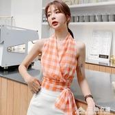 新款夏季時尚氣質性感顯瘦露肩襯衫無袖格子雪紡衫掛脖上衣女 三角衣櫃