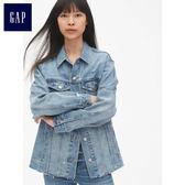 Gap女裝 大廓形做舊紐扣牛仔夾克 468242-做舊淺藍