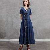牛仔洋裝 旗袍改良版連身裙女夏復古2021新款刺繡牛仔裙中長裙修身顯瘦V領