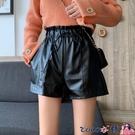 熱賣皮短褲 黑色PU皮短褲女春裝外穿2021新款高腰顯瘦直筒闊腿褲百搭休閒褲子 coco