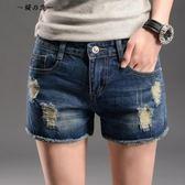 夏季高腰破洞牛仔短褲女韓版學生寬鬆顯瘦大碼百搭毛邊闊腿褲熱褲【櫻花本鋪】