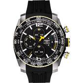 TISSOT PRS516 視距儀計時機械錶-黑x黃/44mm T0794272705701