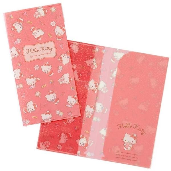 〔小禮堂〕Hello Kitty 日製雙開式票據收納夾《玫粉》票卡夾.演唱會粉絲收納系列 4901610-66981