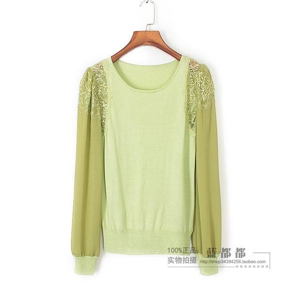 [超豐國際]蟲春秋裝女裝抹茶綠袖子雪紡蕾絲拼接針織衫 204(1入)