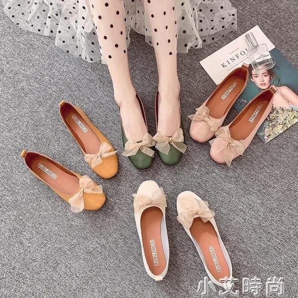 單鞋女2021春季仙女風蕾絲蝴蝶結百搭淺口豆豆學生淑女平底配裙子 小艾新品